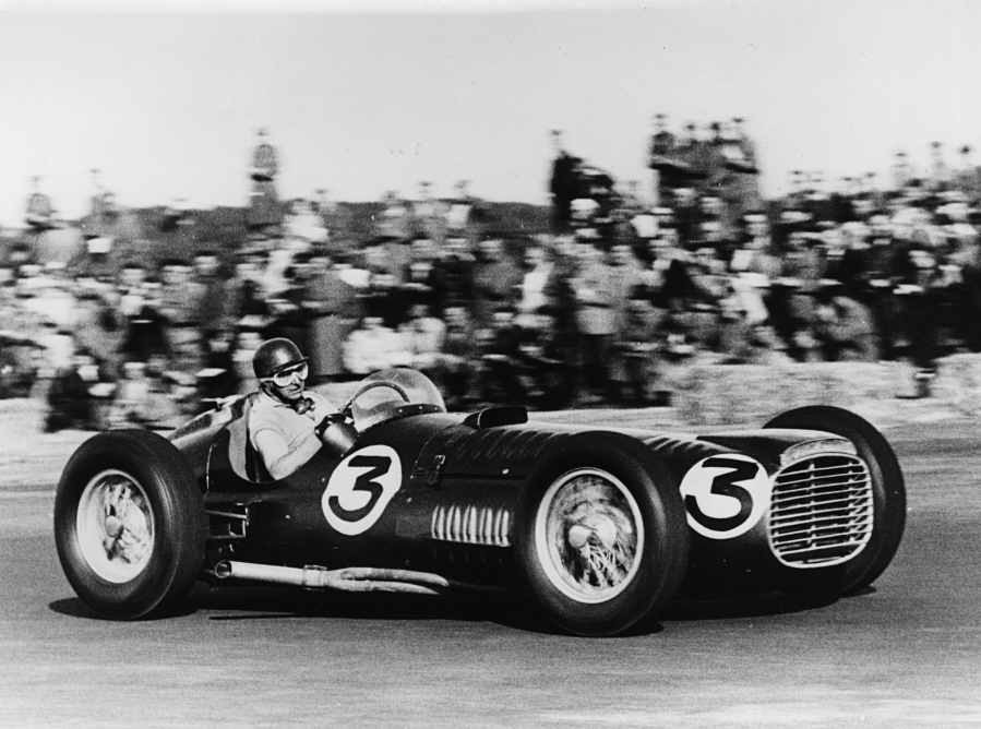 The BRM V16 and driver Fangio at Silverstone in 1953