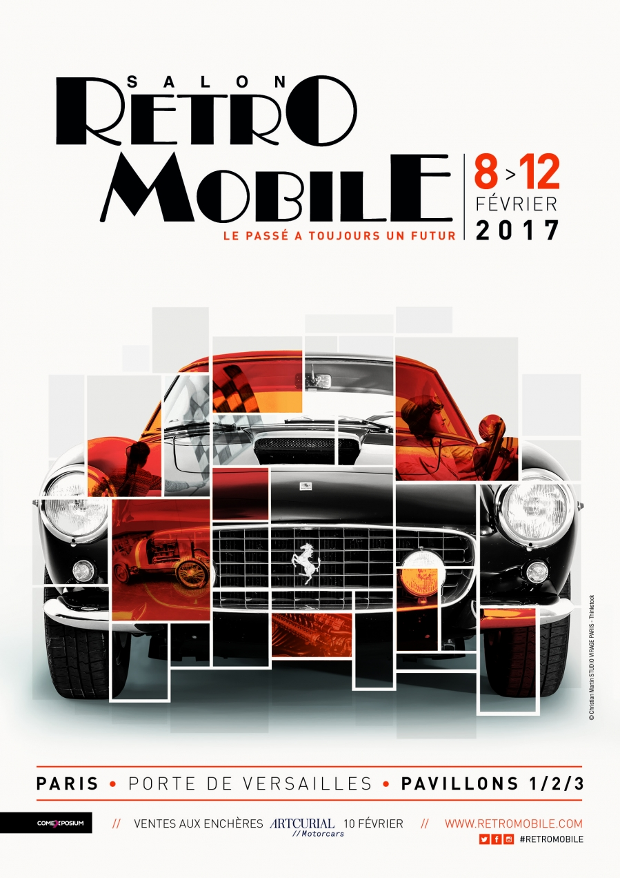 l 39 affiche du salon r tromobile 2017 salon r tromobile. Black Bedroom Furniture Sets. Home Design Ideas